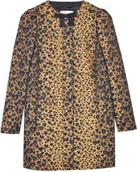 RED Valentino Heart Leopard Print Coat - Lyst