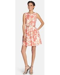 Tahari Belted Metallic Floral Jacquard Fit & Flare Dress - Lyst