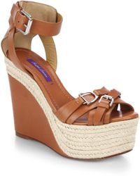 Ralph Lauren Collection Finola Horsebit Leather Espadrille Wedge Sandals - Lyst
