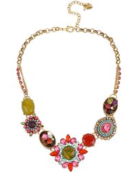 Betsey Johnson Mixed Crystal And Gemstone Frontal Necklace - Lyst