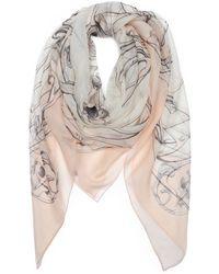 Alexander McQueen Peach and White Art Nouveau Scarf - Lyst