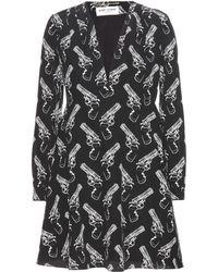 Saint Laurent Printed Silkcrepe Dress - Lyst