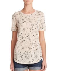 Rebecca Taylor Astro Printed Linen Tee brown - Lyst