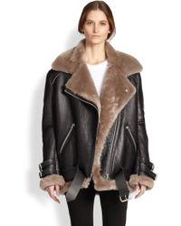 Acne Studios Velocite Oversized Leather & Lamb Shearling Moto Jacket - Lyst