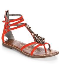 Sam Edelman Giada Beaded Leather Sandals red - Lyst