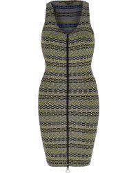 River Island Green Printed Jersey Zip Bodycon Dress - Lyst