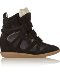 Isabel Marant Burt Suede And Leather Wedge Sneakers - Lyst