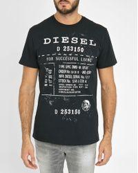 DIESEL   Black T- Diego Fz Printed Round-neck T-shirt   Lyst