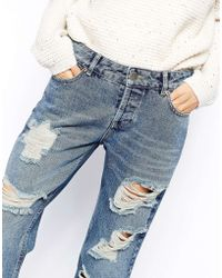 Asos Brady Low Rise Slim Boyfriend Jeans in Mid Wash with Extreme Rips - Lyst