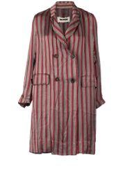 Uma Wang Striped Double Breasted Coat - Lyst