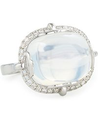 Goshwara - 18k White Gold Moon Quartz & Diamond Ring - Lyst