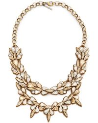 Deepa Gurnani Crystal Layered Necklace Clear Gold - Lyst
