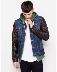 Pull&Bear Jacket with Fake Leather Sleeves - Lyst