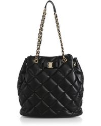 Ferragamo Ginny Quilted Leather Bucket Bag - Lyst