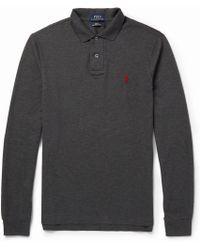 Polo Ralph Lauren Long Sleeved Cotton Pique Polo Shirt - Lyst