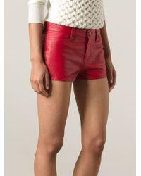 Current/Elliott Red Mini Shorts - Lyst