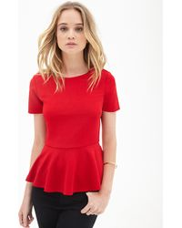 Forever 21 Textured Peplum Top - Lyst