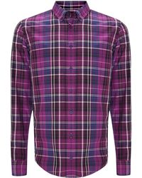 Hugo Boss Long Sleeve Washed Check Shirt - Lyst