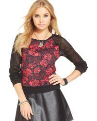 Material Girl - Floral Print Mesh Sleeve Top - Lyst