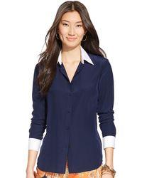 Lauren by Ralph Lauren Color Blocked Silk Shirt - Lyst
