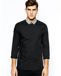 Asos Smart Shirt in Long Sleeve with Contrast Marl Collar - Lyst