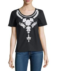 Marchesa Voyage - Embellished Back-button Tee - Lyst