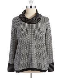 Calvin Klein Plus Mixed Knit Cowl Neck Sweater - Lyst