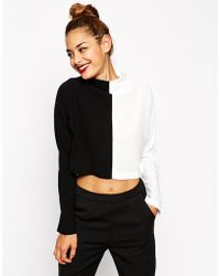 Asos Funnel Neck Color Block Long Sleeve Top - Lyst