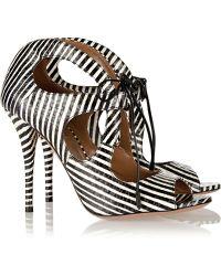 Aquazzura C'Est Chic Striped Elaphe Sandals - Lyst