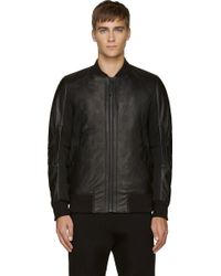 Helmut Lang Black Padded Leather and Mesh Bomber - Lyst