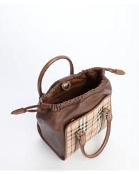 Burberry Camel Leather Nova Check Coated Canvas Drawstring Convertible Shoulder Bag - Lyst