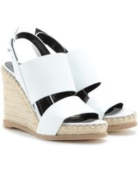Balenciaga Leather Espadrille Wedge Sandals - Lyst