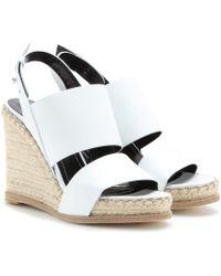 Balenciaga Leather Espadrille Wedge Sandals - Lyst