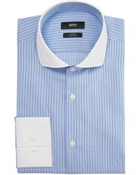 Hugo Boss Jonah Slim Fit Subtle Check Contrast Collar - Lyst