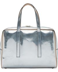 Calvin Klein - Silver Metallic Leather Briefcase - Lyst