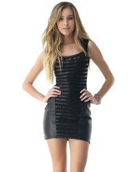 Sky Clothing Collection Sky Garbi Sleeveless Leather Panel Mini Dress - Lyst