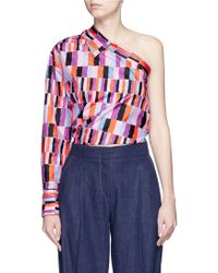 Emilio Pucci | Check Print Collared One-shoulder Top | Lyst