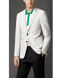 Burberry Modern Fit Cotton Seersucker Blazer - Lyst