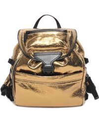Alexander McQueen Metallic Leather Tech Backpack - Lyst