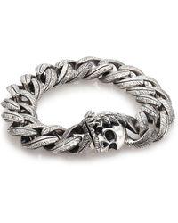 King Baby Studio Large Feather Carved Link Bracelet silver - Lyst