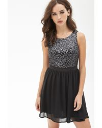 Forever 21 Sequined Fit & Flare Dress - Lyst