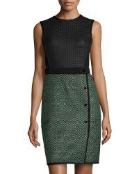 M Missoni Perforated Tweed Skirt Dress W/ Solid Back - Lyst