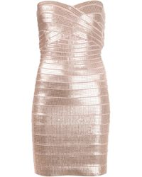 Hervé Léger Fitted Bandage Dress - Lyst