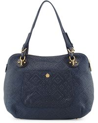 Eric Javits Zimba Woven Leather Shoulder Bag blue - Lyst