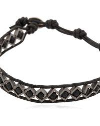 Colana - Silver & Onyx Geometric Beaded Bracelet - Lyst
