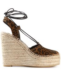 Saint Laurent Platform Wedge Espadrilles - Lyst
