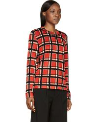 Marc By Marc Jacobs Red Check Toto Sweater - Lyst