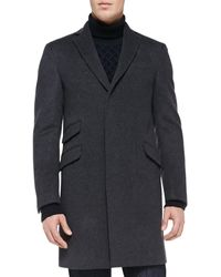 Etro Velvet Collar Felt Over Coat - Lyst