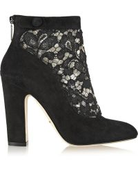 Dolce & Gabbana Vally Lace and Suede Ankle Boots - Lyst