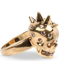 Alexander McQueen Mcq Punk Skull Ring Gold - Lyst